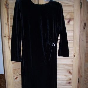 Connected Apparel Black Evening Velvet Dress Large